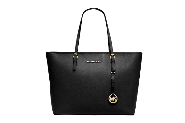 michael kors jet set tote black front